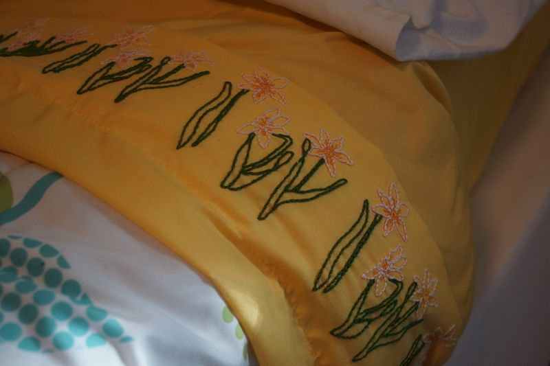 Embroidery Daffodils Pillow and Sheets